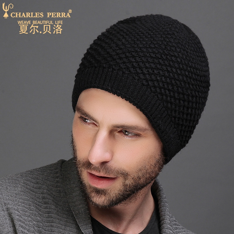 Charles Perra NEW 2019 Men Knitted Hats Winter Double Layer Thicken Wool Hat Fashion Casual Male Skullies Beanies 3313