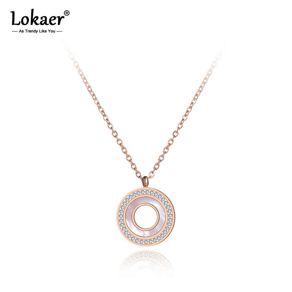 Lokaer Titanium Steel Shell Circle Charm Pendant Necklaces Jewelry Rose Gold CZ Crystal Choker Wedding Necklace For Women N19092
