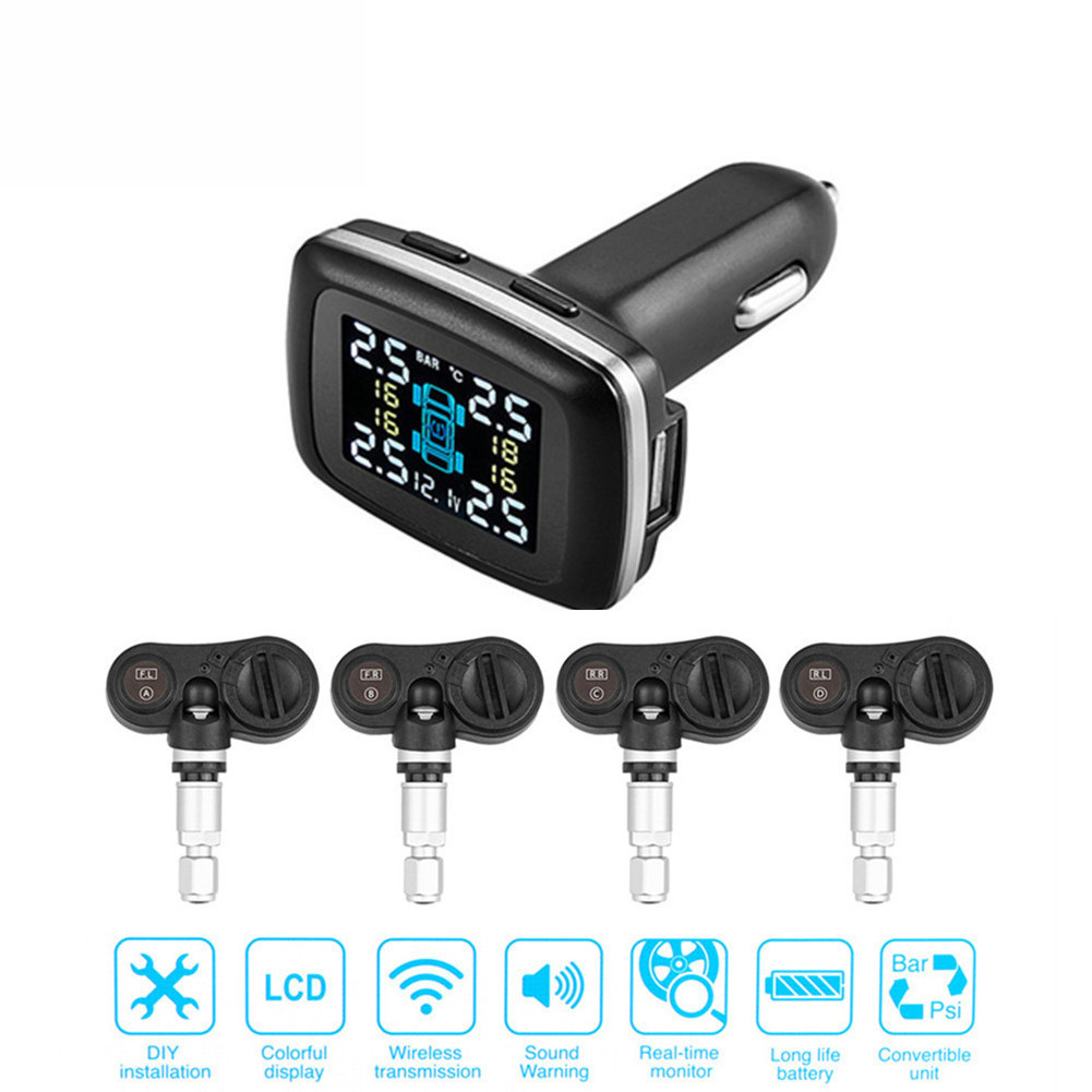 TP620 Real Time Digital Tire Pressure Monitoring System Wireless Smart TPMS Tire Pressure Alarm Car Charger