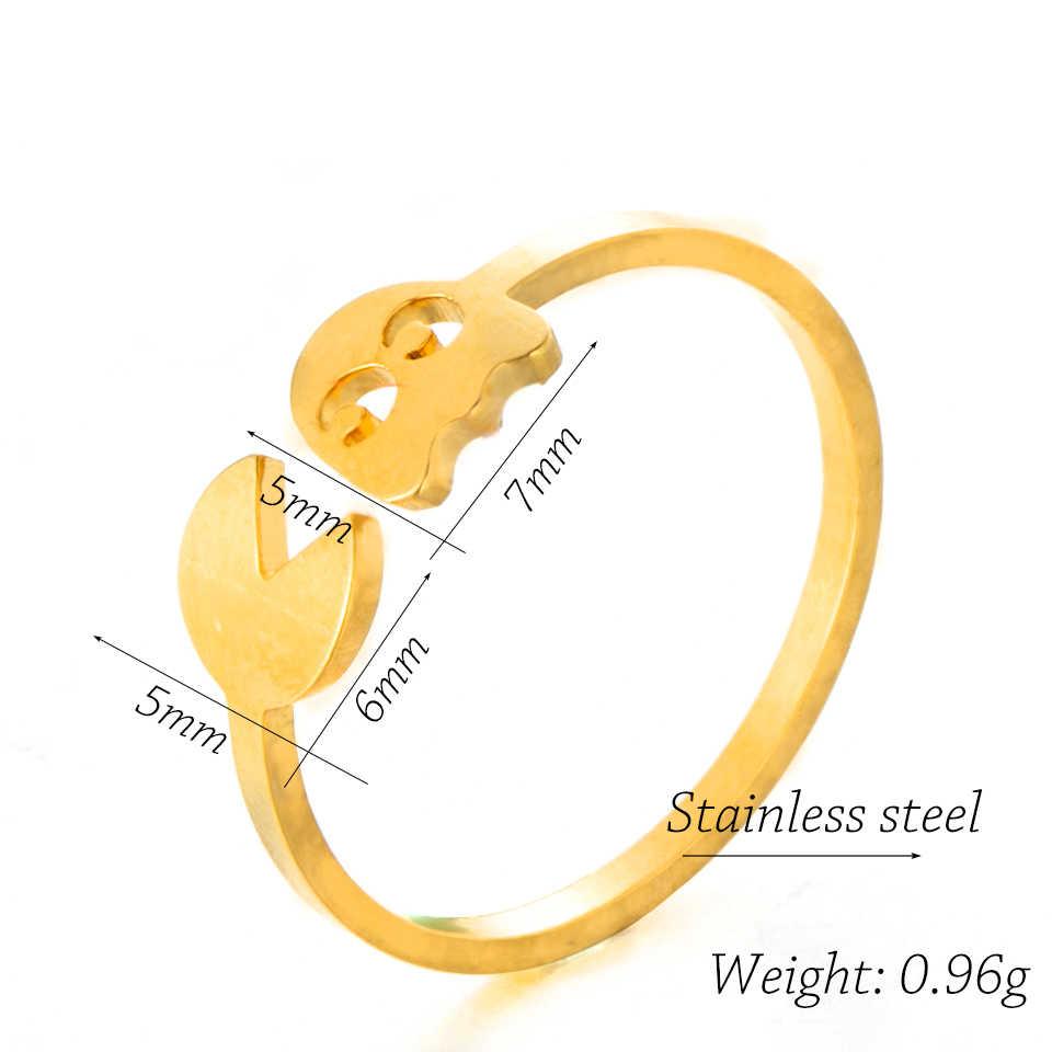 2019 แฟชั่นคลาสสิกเกม Pac-Man Minimalist แหวนเงินสแตนเลสเปิดแหวนผู้หญิงเครื่องประดับอุปกรณ์เสริม