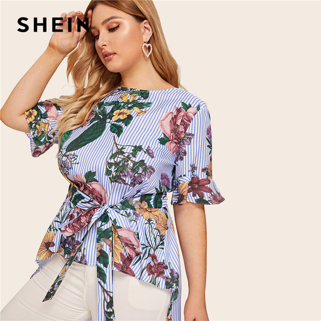 SHEIN Plus Size Multicolor High Low Floral And Striped Top Blouse With Belt 2019 Women Summer Boho Boat Neck Blouses Shirt 1