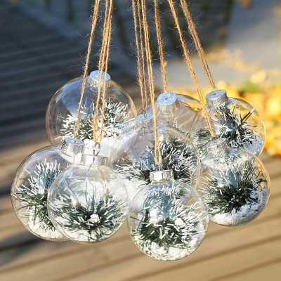 8pc 6/8/10cm Christmas Ball Ornament Clear Glass Bauble Xmas Decoration Pendant Wedding DIY party Event Memory ball (Only Glass)