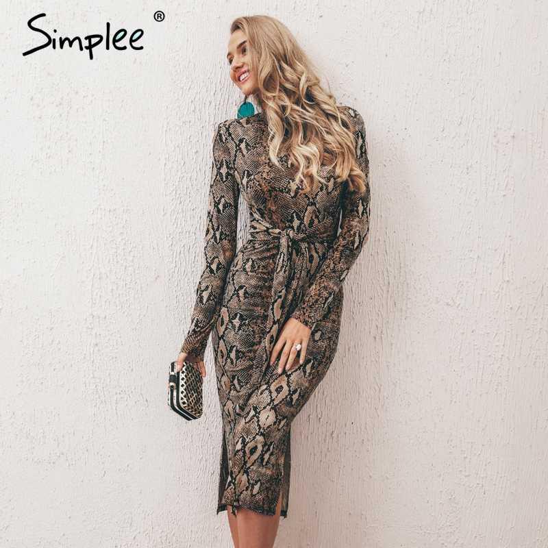 Длинное платье Simplee на осень-зиму, с леопардовым принтом, пикантное облегающее элегантное вечернее эластичное платье с длинным рукавом и поясом
