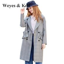 Weyes & Kelf Double Breasted Long Loose Gray Plaid Womens Trench Coats 2017 Autumn Office Lady Long Sleeve Wide-waisted Coats