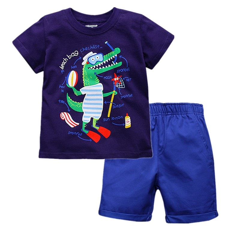 2017 New Brand Little Maven Boy Set 1-6 Years Crocodile Printing Summer Set 100% Cotton Short T-shirt+Shorts Children Set KF221 2017 little maven 1 6 years baby girls set quality brand short sleeve t shirt shorts 100% cotton kids summer clothes set kf175