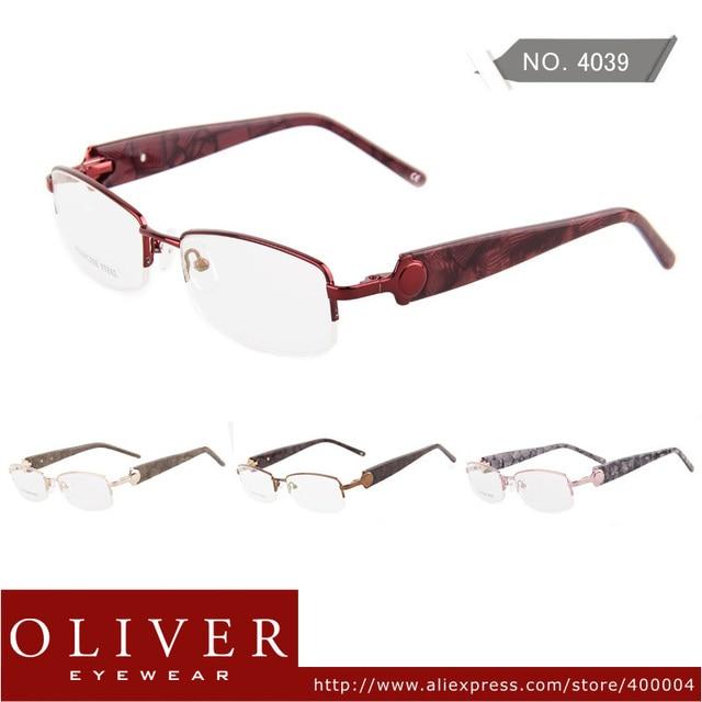 New Fashion design High Quality Glass Frame Classic Metal Half Frame Optical Eyeglasses 4039
