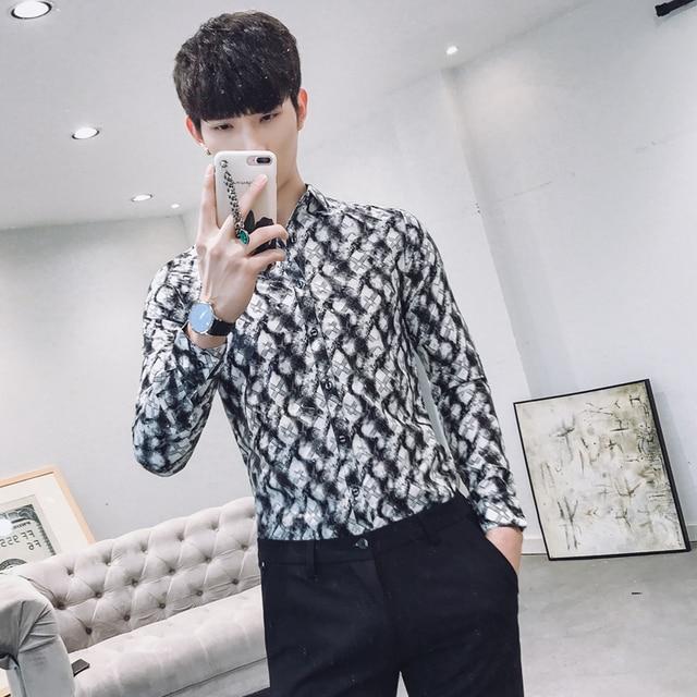 Fashion 2018 Printed Shirts Mens Flowers Shirts Mens Shirts Casual