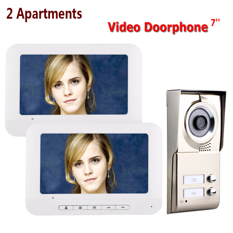 7inch LCD 2 Apartments Video Door Phone Intercom System IR-CUT HD 1000TVL Camera Doorbell Camera With 2 Button 2 Monitor Waterpr