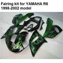 Высокое качество пластик обтекателя комплект для Yamaha YZFR6 98 99 00 01 02 зеленый пламя зализах мотоцикла комплект YZF R6 1998-2002 YO13