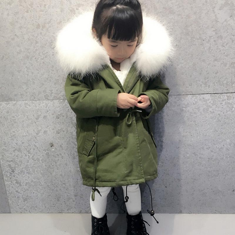 2017 Boys Girls Winter Warm Jackets Kids Spring Autumn Clothes Kids Hooded Thick Jacket Children Natural Fur Clothing Outerwear