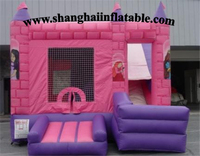 Inflatable Indoor Playground Big Trampolines Commercial Bounce House With Slide