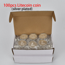 100pcs/Lot Gold Silver Plated Litecoin coin LTC Cryptocurrency Metal For Souvenir