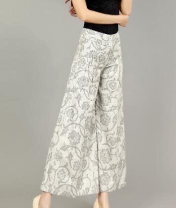 Longitud Pantalones Floral Del 5xl La Amplia Cintura 7xl Verano Alta Tobillo Suelto Culottes E581 De Pierna Mujer 6xl Lino PwH4z8W