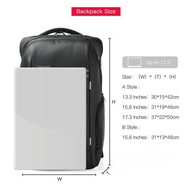 "Kingsons 15""17""  Laptop Backpack External USB Charge Computer Backpacks Anti-theft Waterproof Bags for Men Women 4"