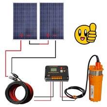DC дом 2 шт 100 W поликристаллические солнечные батареи с 24 V глубокий Насос Водяной Скважины 15A контроллер, насос погружной Системы