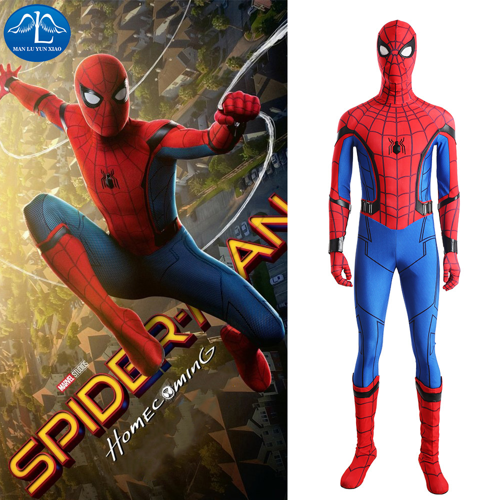 MANLUYUNXIAO Spiderman Homecoming Cosplay Costume Spandex Zentai Suit Halloween Spiderman ...