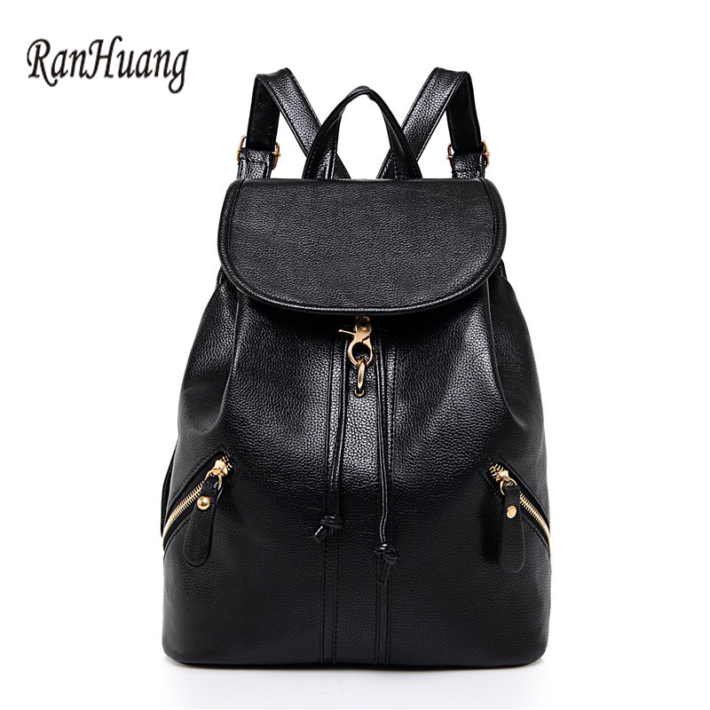 ФОТО RanHuang Women Fashion PU Leather Backpack High Quality Designer Backpack School Bags For Teenagers Girls Black mochila feminina