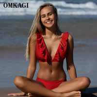 OMKAGI Brand Sexy Bikini Swimsuit Swimwear Push Up Bikinis Set Women Swim Suit Swim Wear Beachwear