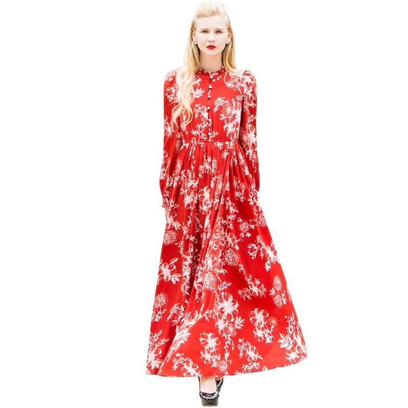 Pleine Élégant Robes Longueur Parti Manches Robe De Mousseline Femmes 6537 En Nuit Musulman Longues Soie Imprimé Bouton Soirée Fleurs x1aZzw
