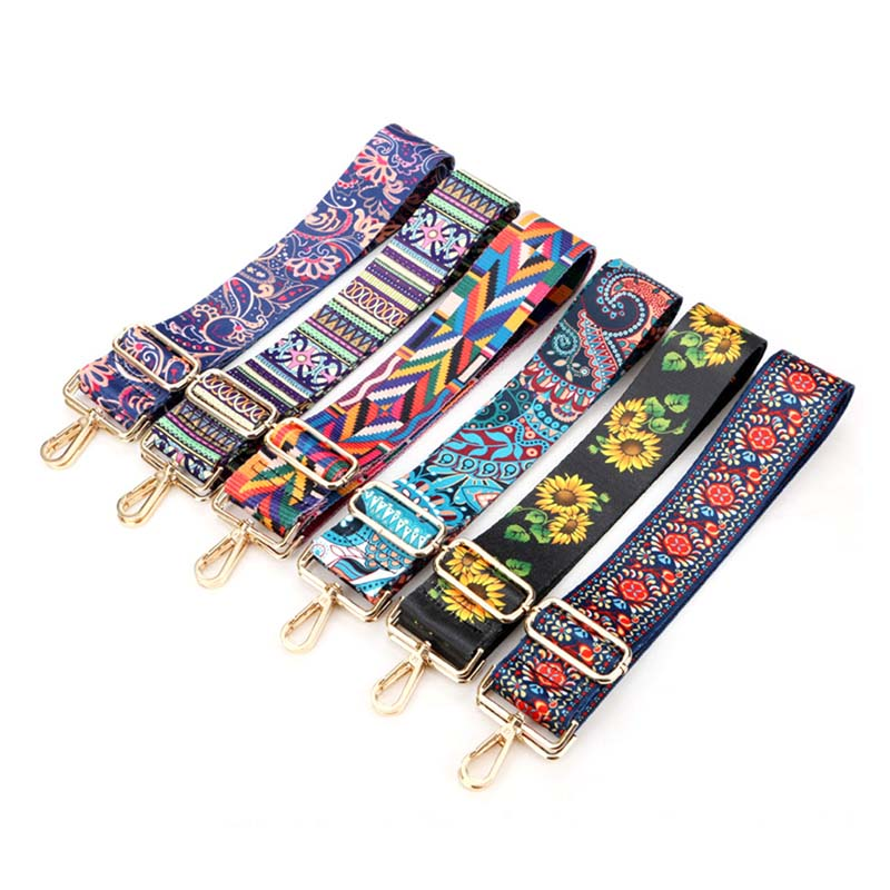Fashion Shoulder Bag Wide Strap Belts Women Handbag Flowers Bag Strap National Wind Adjustable Strap Belts DIY Accessories