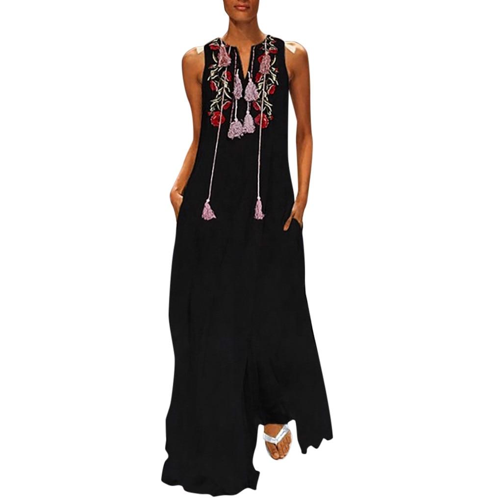 Women Vintage Casual Daily Sleeveless Cotton-Blend Floral Embroidery Summer Dress Women Dress Girl