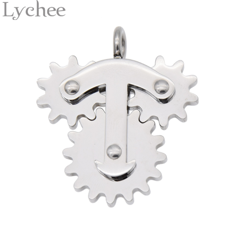 Lychee Stainless Steel Anti Stress Gear Spinner Pendant Hand Fidget School Office Autism ADD ADHD Anxiety