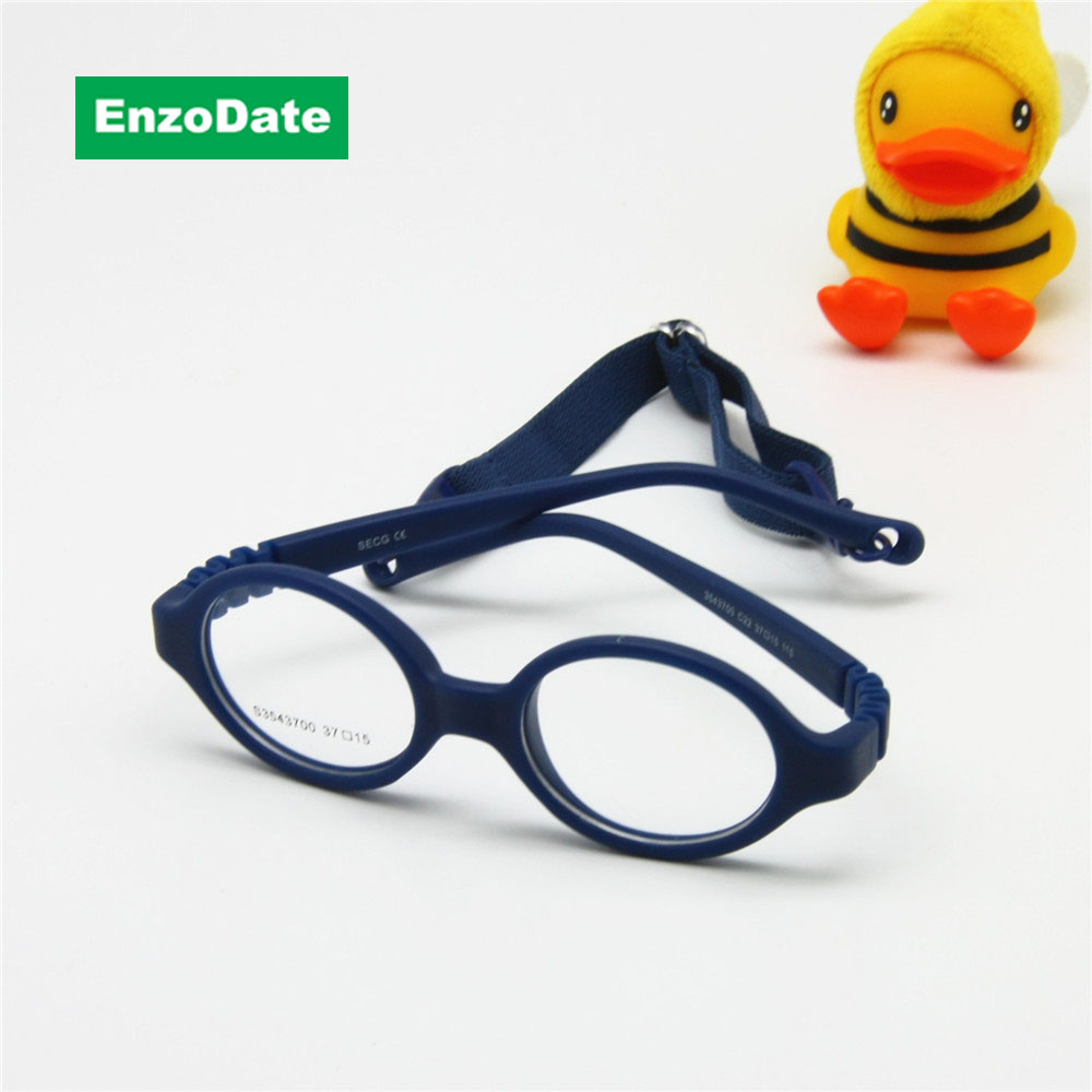 Baby Glasses Size 37mm No Screw Safe Bendable with Strap, Fliexible Optical Children Frame & Plano Lenses, Kids Eyeglasses Cord