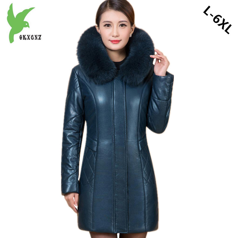 Plus size 6XL Middle aged Women Leather Cotton Jacket Coat Winter Warm Parkas Thicker Hooded Jacket Boutique Cotton Coats OKXGNZ okxgnz winter cotton jacket coat women 2017long cotton padded costume hooded loose warm coats plus size women basic coats ah021