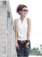 2015 Women'S Fashion Slim Halter Straps Shirts Sleeveless Black/White Cotton V-Neck Blouses Sexy Summer Vest Tanks & Camis S1460
