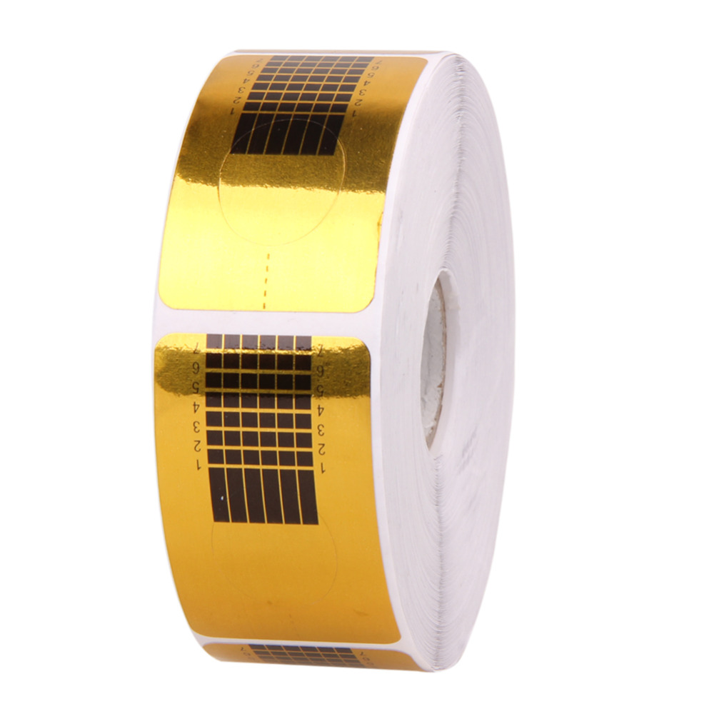 500Pcs Gold Nail Guide Sticker Tape Nail Art Sculpting Extension Nails Forms Guide Stickers Adhesive Acrylic UV Gel Tips Form wholesale 10pc set nail extension form women nail salon equipment form art tip extension forms for acrylic uv gel 500pcs roll