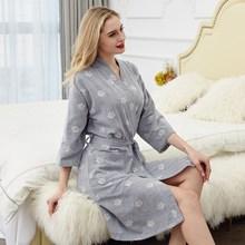 New Arrival Summer 100% Cotton Nightgown Sexy Bath Robe Womens Sleepwear Double deck Gauze Sleepshirts Female Home Bathrobe
