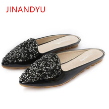 Women Slippers Summer Mules Shoes Slides Flat Slippers Women Rhinestone Slipper Platform Woman Pointed toe Shoes Sandals 2019