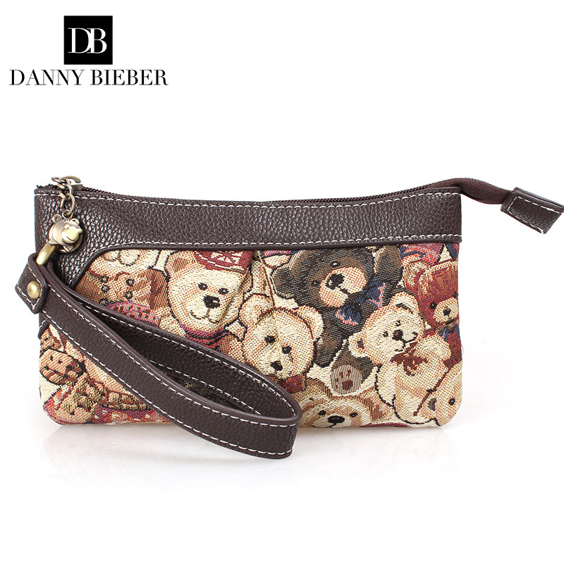 f3c80d62af DANNY BIEBER Vintage Small Women Bear Bag Handbag Lady Famous Brand Zipper Cute  Wallet Mobile Phone Bag Day Clutch Evening Bag-in Top-Handle Bags from ...