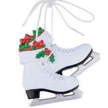 Fille chaussures De Patinage Sur Glace Polyresin Brillant Arbre De Noël Ornements Livraison Écrire Nom Personnalisé Cadeaux