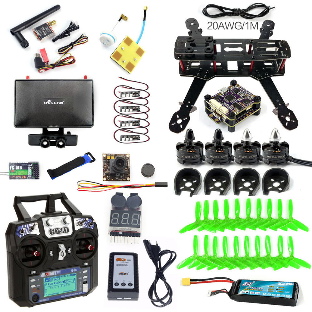 Full Set 250 DIY FPV Racing Drone Quadcopter Q250 Frame 2300KV Motor Raptor S-Tower 30A ESC TS5828 6Ch Remote Control Monitor