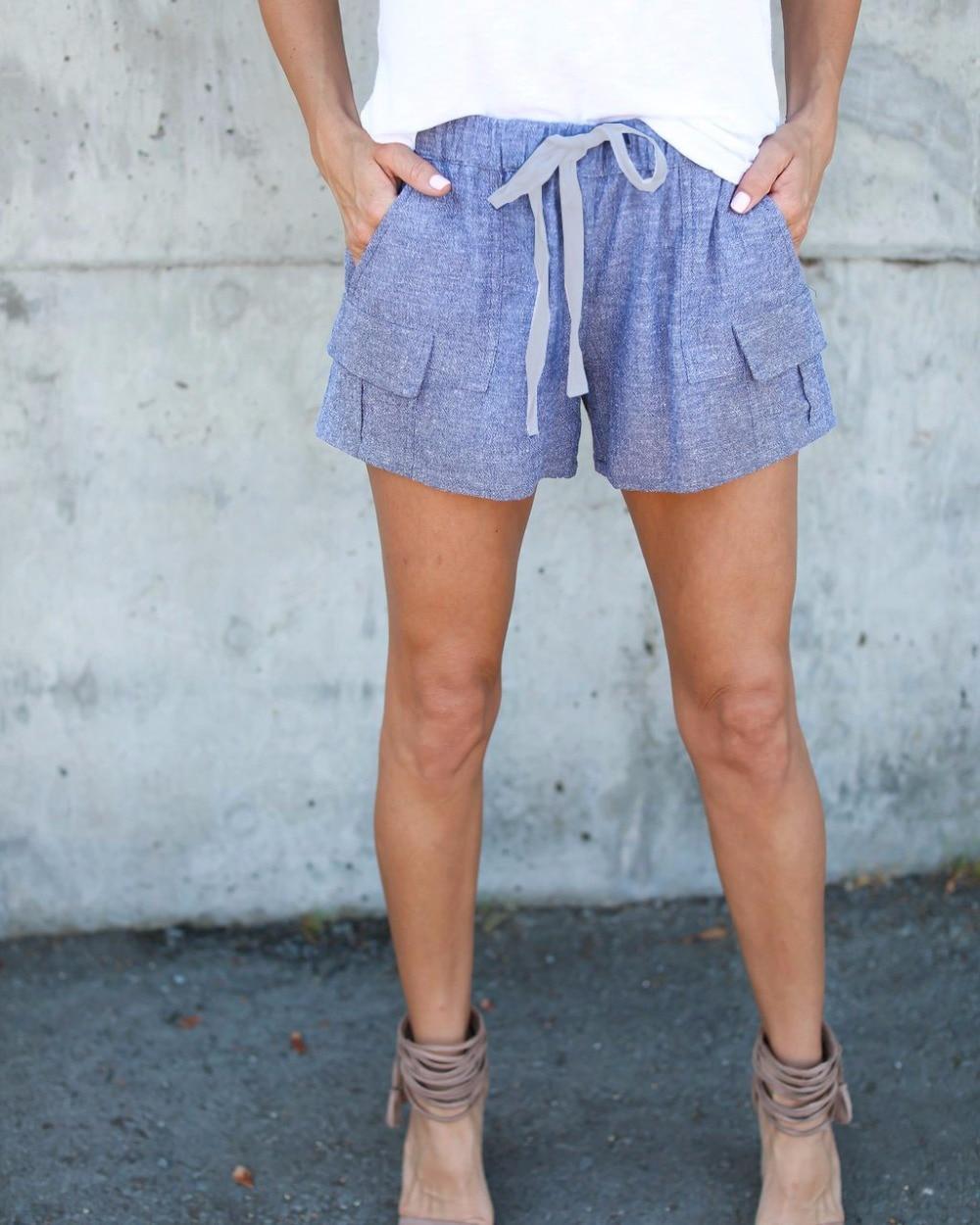 aa5913157 2019 Fashion Women Comfy Hot shorts Summer Blue Casual Shorts High Waist  Hot Drawstring Shorts Feminino shorts Exercise Trousers-in Shorts from  Women's ...
