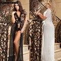 Europeus e Americanos lingerie sexy cintas transparentes longo xaile jacket tops sexy macacão