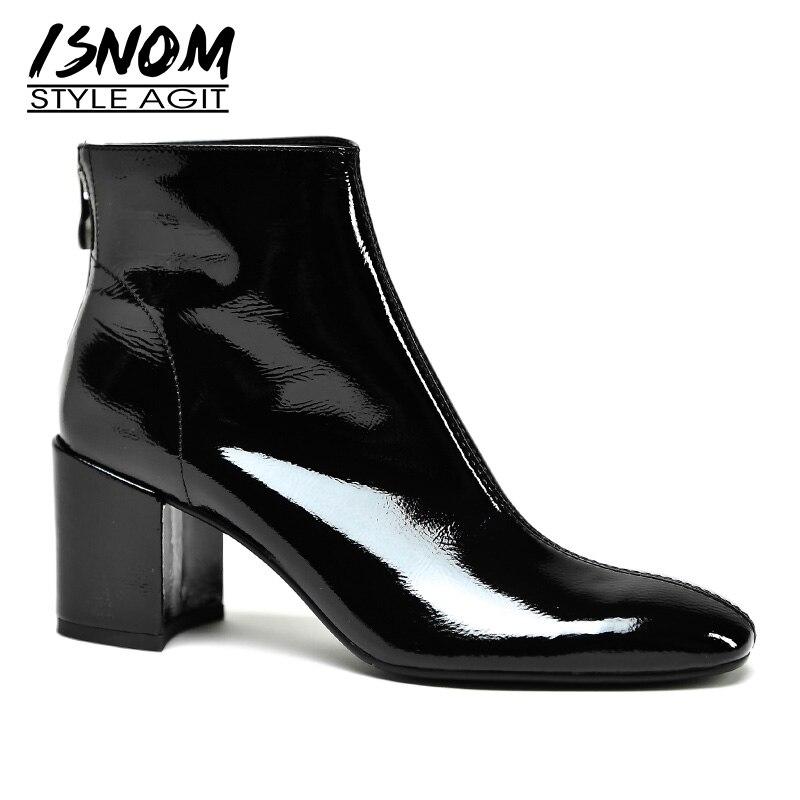 Isnom 특허 가죽 여성 발목 부츠 지퍼 광장 발가락 신발 두꺼운 하이힐 여성 부팅 패션 신발 여성 봄 2019 새로운-에서앵클 부츠부터 신발 의  그룹 1