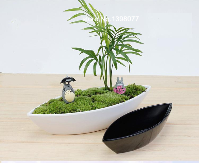 boat shape black white ceramiclikeplastic flower pot succulent pot     boat shape black white ceramiclikeplastic flower pot succulent pot planter  flowervasehomedecorationartificial orchidscallavase