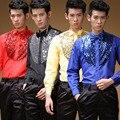 Caliente venta! los nuevos 2015 hombres de moda hombres camiseta manga larga hombre de la etapa lentejuelas danza ropa mejor boda del hombre camisa S-XXL