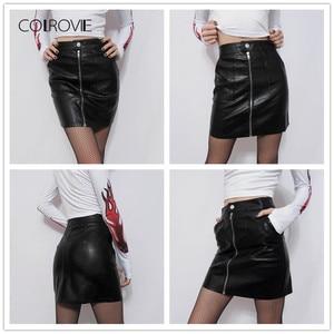 Image 5 - COLROVIE printemps plaine Faux cuir jupe noir taille moyenne fermeture éclair avant Sexy PU jupe femmes élégant gaine au dessus du genou Mini jupe