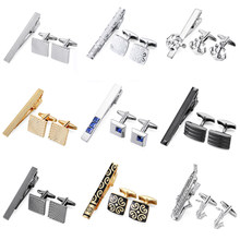 7f9b1ef49773 DY The high-end brand men's shirts and tie gold silver anchor Sax carved  black striped tie clip Cufflinks set free shipping