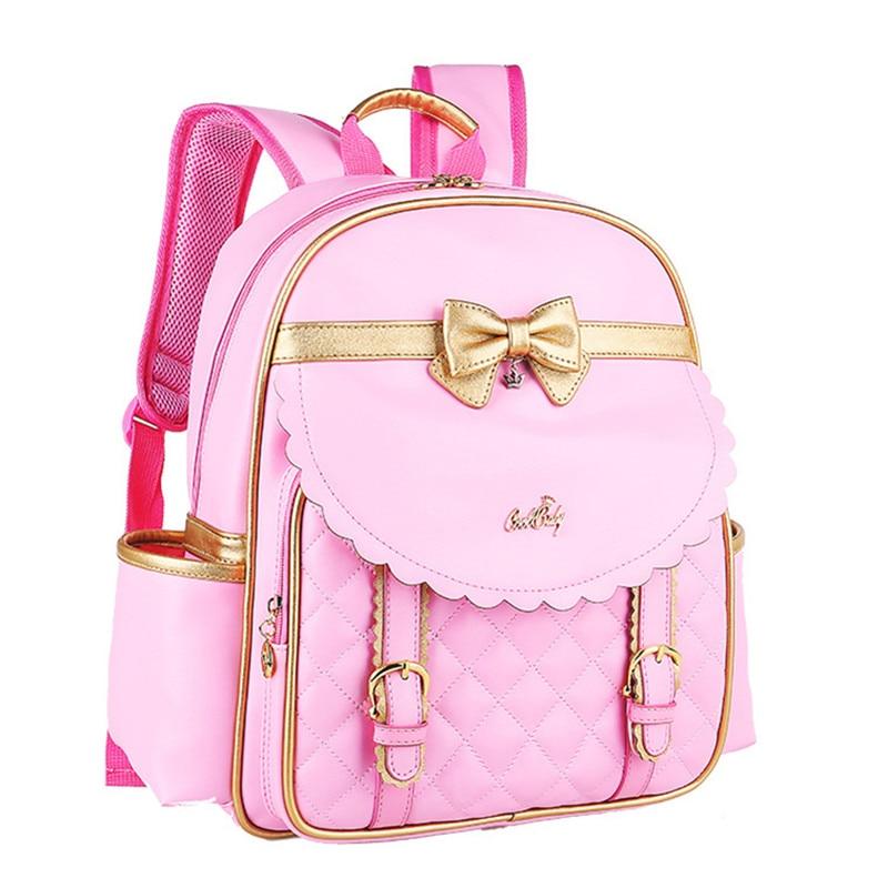 Kids Girls Princess PU Leather Backpack Pink Cute Bowknot Children Primary School Backpacks Daypack Mochila Bag