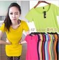 Big SALE!! Novo 2016 Spring & Summer Roupas das Mulheres T-shirt Curto-Multicolor Colar de Algodão de manga Longa T-shirt Ocasional Camisa Básica