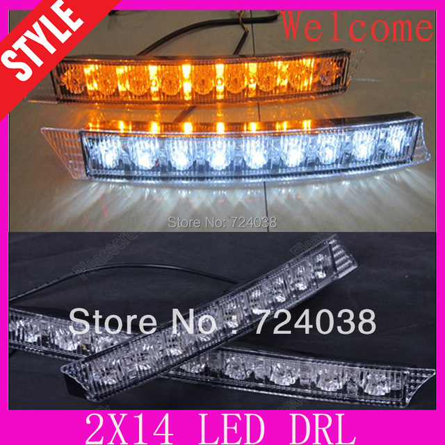 2PCS white and yellow  2*14 LED Car Daytime Running Light DR for Audi A6 A4 accessories car styling parking light source