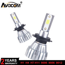 2018 New 2Pcs LED H1 H11 Automobiles Headlights Bulb 12V 9005/HB3 9006/HB4 9012/HIR2 24V Mini LED H4 H7 Car Lamp Super Bright(China)