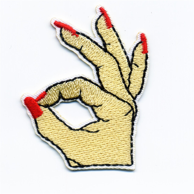 Red Nails Women's Fingers Patches Iron On Sew On Embroidered Patch For Clothing Sticke On DIY Badge For Clothes Bag Pants