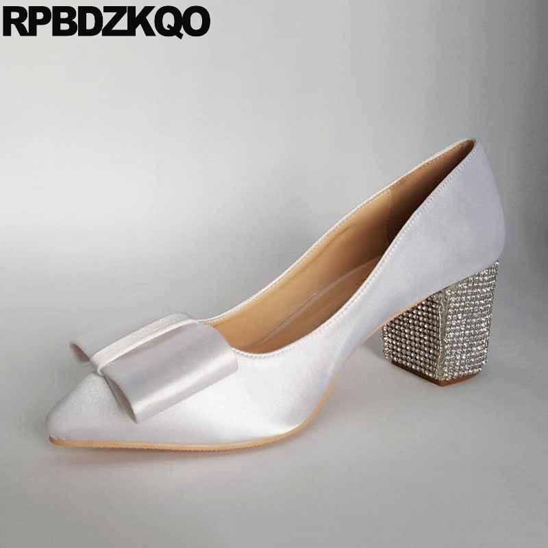 13 45 Pumps White Pointed Toe Ivory Bridal Shoes Thick Silk Satin Rhinestone Bow Plus Size Women Dress High Heels 12 44 Wedding