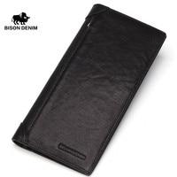 BISON DENIM brand men wallets long slim genuine leather wallet business male card holder