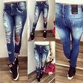 2016 Outono Moda de Nova Mulheres Sexy Buraco Denim Calças Skinny Jeans Stretch de Cintura Alta Calças Lápis Slim